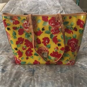 Dooney & Bourke red and yellow flower tote purse